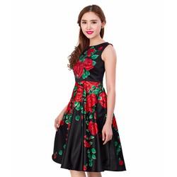 Đầm Xòe Dự Tiệc Hoa Hồng Tiểu Thư