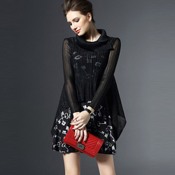 Đầm xòa họa tiết quyến rũ N618
