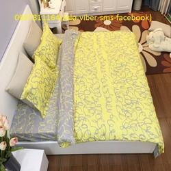 Xã kho bộ chăn ga gối Cotton Hàn Quốc poly Vàng Hoàng Kim loại 1