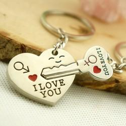 Móc khóa đôi chìa khóa trái tim