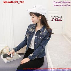Áo khoác Jean nữ tay dài rách kiểu trẻ trung sành điệu AKJ79