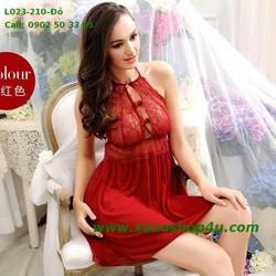 Váy ngủ cổ yếm lưới xịn phối ren gợi cảm màu đỏ vang L023