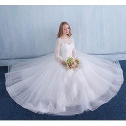 Váy cưới công chúa, kín đáo tay lưới ren dài