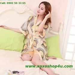Áo khoát và váy 2 dây màu vàng kim họa tiết sang trọng có size L007