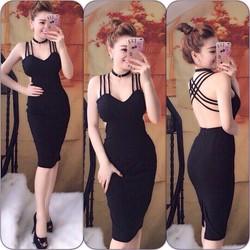: Đầm ôm body đan dây lưng  không kèm vòng cổ
