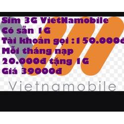 sim giá rẻ 3G VietNamobile