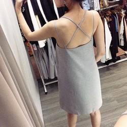 Đầm suông sọc dây chéo lưng