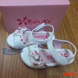 Sandal bé gái kenike nơ hoa trắng