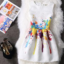 Đầm xoe họa tiết sắc màu độc đáo hàng nhập khẩu