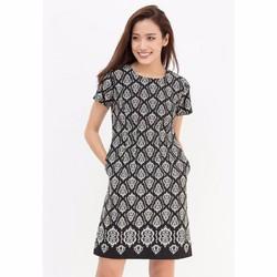 Đầm Suông tay ngắn - Hoa Văn Đen