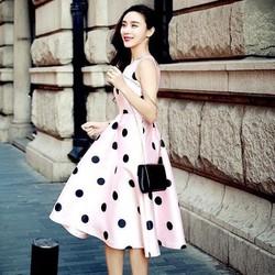 HÀNG THIẾT KẾ-Đầm Xòe Vintage Chấm Bi Cao Cấp