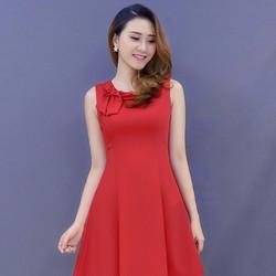 Đầm xòe đỏ nơ cổ - NR143