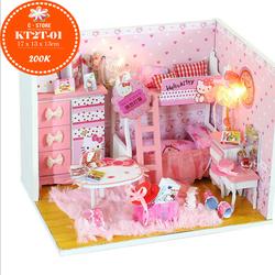 Bộ lắp ghép phòng ngủ Kitty màu hồng đáng yêu