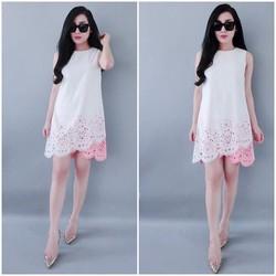 Đầm suông cắt laze màu trắng V0813