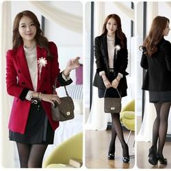 Áo khoác vest nữ form dài tay phối đen - AV3408