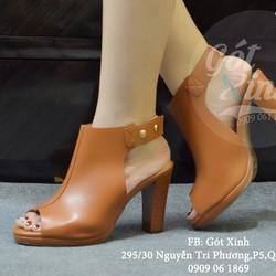 Giày cao gót vuông hở mũi kiểu boot quai đinh màu bò-GX413
