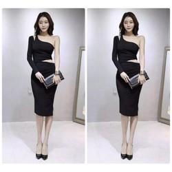 Đầm body lệch vai thiết kế hở eo