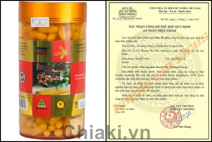 Sữa ong chúa Costar Royal Jelly 1610mg