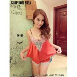 Bộ đồ ngủ nữ phi lụa pha ren chất siêu đẹp hàng xuất khẩu - B841