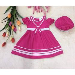 Đầm Silk cotton xẻ vai cổ thủy thủ kèm nón bánh tiêu cho bé gái