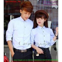 Sơ mi cặp đôi cổ bẻ sắc xanh yêu thương ý nghĩa SDM164
