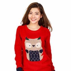 Áo len nữ họa tiết cú mèo dễ thương - Đỏ