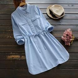 Đầm sơ mi sọc xanh NH