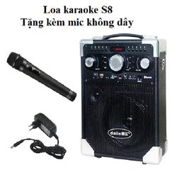 Loa bluetooth karaoke S8 - tặng kèm mic không dây âm thanh thật chuẩn