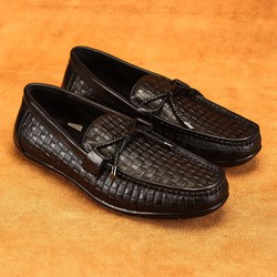 Giày lười nam Laforce hàng hiệu thắt nơ kẻ ô