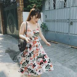Đầm 2 dây họa tiết hoa