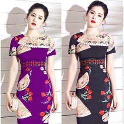 Đầm body in 3D họa tiết 2 mặt