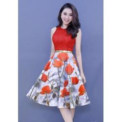 Đầm Ren Ép Tùng Xòe Hoa Tulip Cao Cấp - DXM514