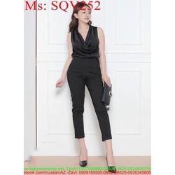 Sét áo cổ đổ phối quần lửng đen cá tính thời trang SQV252