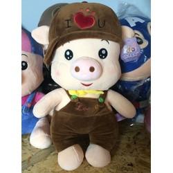 Gấu bông heo mặc yếm nón I Love U