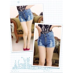 Quần short jean nữ lưng cao 4 nút xắn lai - AV3168