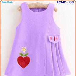 Đầm thun cotton thêu tim phối xếp ly xinh xắn cho ngày hè