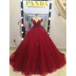 áo cưới tay con đỏ chụp hình làm lễ rất đẹp