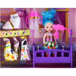 Bé búp bê Barbie chơi trên nôi với mèo trắng cực xinh yêu