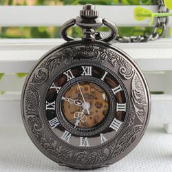Đồng hồ quả quýt lên cót tay La Mã Đen