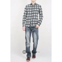 Quần jeans nam mài xước, màu xám khói, ống đứng 16Q0122