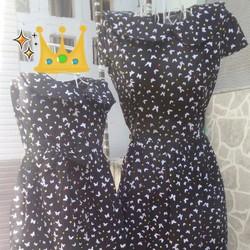Đầm đôi Mẹ và Bé cổ sen họa tiết Bướm bi