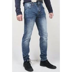 Quần jeans nam ống côn, xanh mài xước, co giãn 16T088