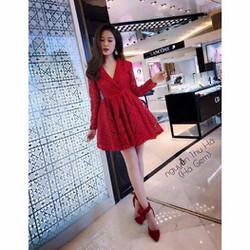 Đầm xoè ren tiểu thư cổ vest DA305