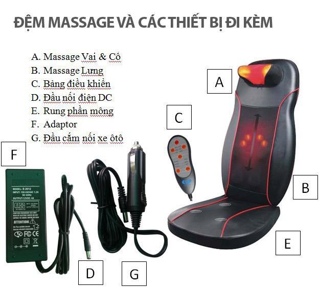 đệm massage toàn thân neck back cushion 958 ch