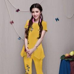 Bộ kiểu form dài màu vàng dập hoa hồng nổi thời trang