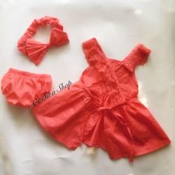 Set váy bé gái kèm turban và chip