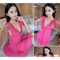 Đầm ngủ xòe màu hồng sen ngọt ngào TK691