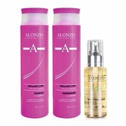 Combo dầu gội xả và tinh dầu dưỡng chăm sóc tóc nhuộm Alonzo Brilliant