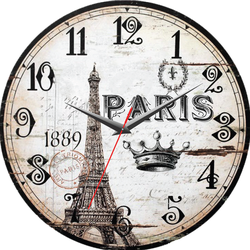 Đồng hồ gỗ tròn Vintage - PARIS