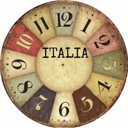 Đồng hồ gỗ tròn Vintage ITALIA